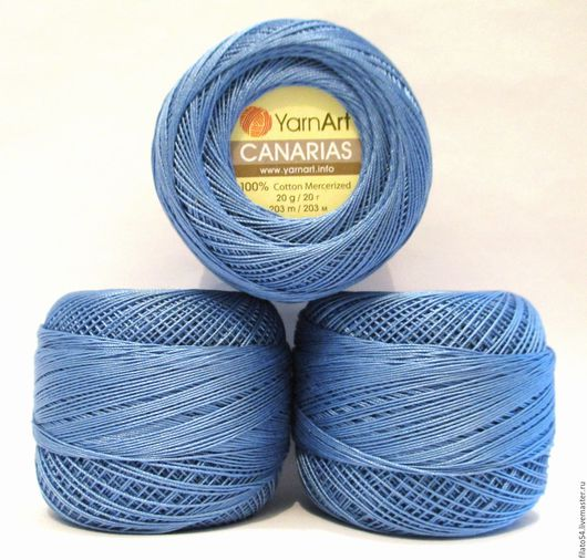 Canarias  Yarn Art  Турция  color 5351 джинсовый  пряжа Канарис Ярн Арт тонкий мерсеризованный хлопок для кружева и вышивки в технике хардангер