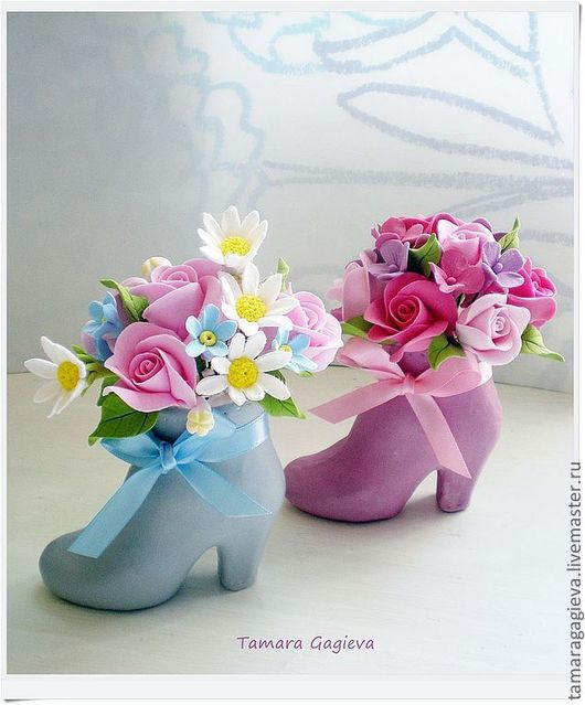 Цветы ручной работы. Ярмарка Мастеров - ручная работа. Купить Милые туфельки. Handmade. Голубой, туфелька, глина