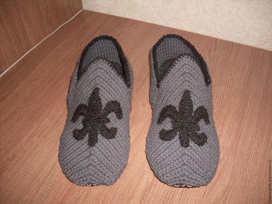 """Обувь ручной работы. Ярмарка Мастеров - ручная работа. Купить Тапочки """"Для настоящего рыцаря"""". Handmade. Темно-серый"""