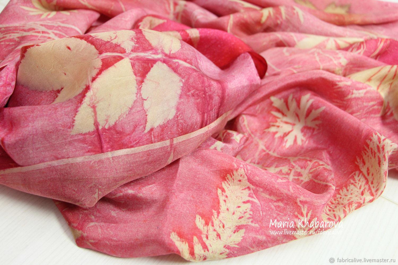 Палантин / парео Розовый фламинго, отпечатки растений, Палантины, Архангельск,  Фото №1