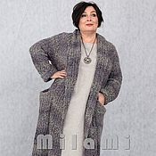 Одежда handmade. Livemaster - original item Chasuble warm chunky knit gray-purple Art.Three thousand seven hundred fifty three. Handmade.