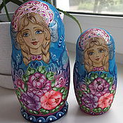 "Русский стиль handmade. Livemaster - original item Matryoshka ""Pink and blue"" 5 seats. Handmade."