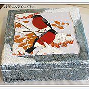 """Для дома и интерьера ручной работы. Ярмарка Мастеров - ручная работа Шкатулка """"Снегири"""". Handmade."""