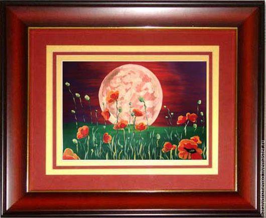 """Пейзаж ручной работы. Ярмарка Мастеров - ручная работа. Купить Картина """"Маки и луна"""". Handmade. Картина, картина в подарок"""