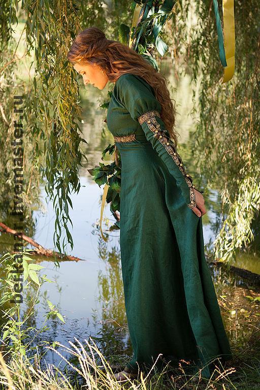 """Платья ручной работы. Ярмарка Мастеров - ручная работа. Купить Средневековое платье """"Лесная принцесса"""""""". Handmade. Эко, эльфийское платье"""