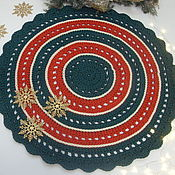 Для дома и интерьера handmade. Livemaster - original item Knitted multi-colored round rug of the new year. Handmade.