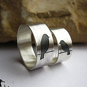"""Кольца ручной работы. Ярмарка Мастеров - ручная работа Обручальное серебряное кольцо""""неразлучники"""", кольца на свадьбу. Handmade."""