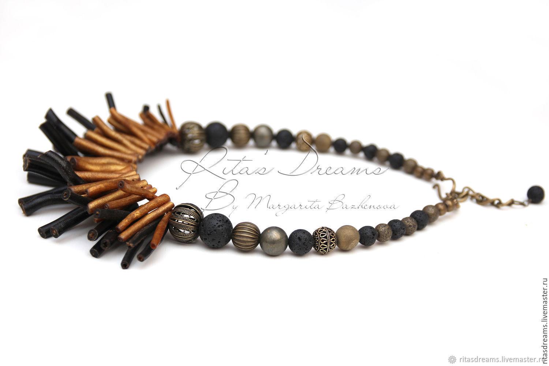 Necklace with corals Golden autumn, coral bronze pyrite agate lava black, Necklace, Orel,  Фото №1