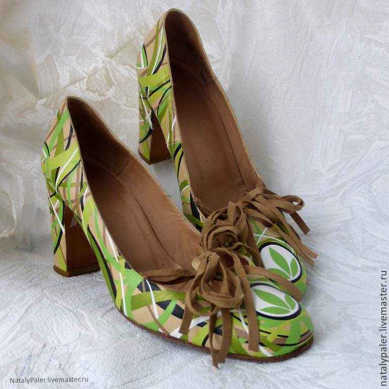 Painting on shoes. Shoes painted 'Tender Herbalife', Shoes, Moscow,  Фото №1