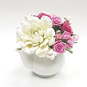 Цветы и флористика ручной работы. Ярмарка Мастеров - ручная работа Цветы в чайнике из полимерной глины. Handmade.