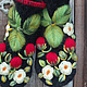 Варежки, митенки, перчатки ручной работы. Варежки с вышивкой  Клубничка. Ludmila Batulina (milenaleoneart). Ярмарка Мастеров. Варежки валяные