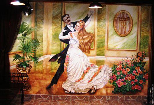 Панно в  ресторане - `На балу в Париже`. Роспись на стене  водостойкими акриловыми красками на специально подготовленной стене.