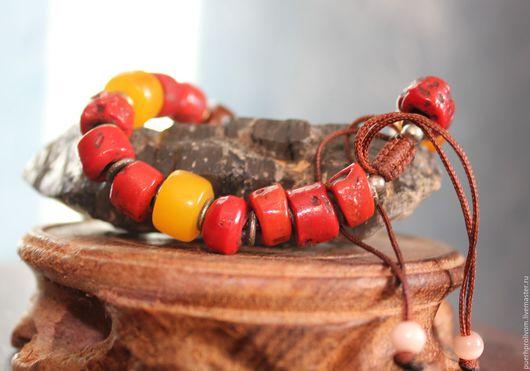 Браслеты ручной работы. Ярмарка Мастеров - ручная работа. Купить Тибетский старинный браслет ( коралл ). Handmade. ДЗИ