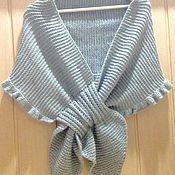 Аксессуары ручной работы. Ярмарка Мастеров - ручная работа Тёплая накидка на плечи вязаный палантин шарф ручной работы купить. Handmade.