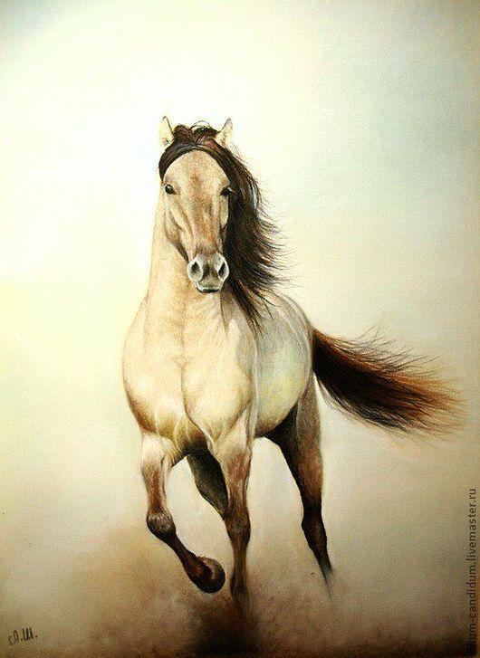Животные ручной работы. Ярмарка Мастеров - ручная работа. Купить картина пастелью Лошадь мчится - пыль клубится. Handmade. Коричневый