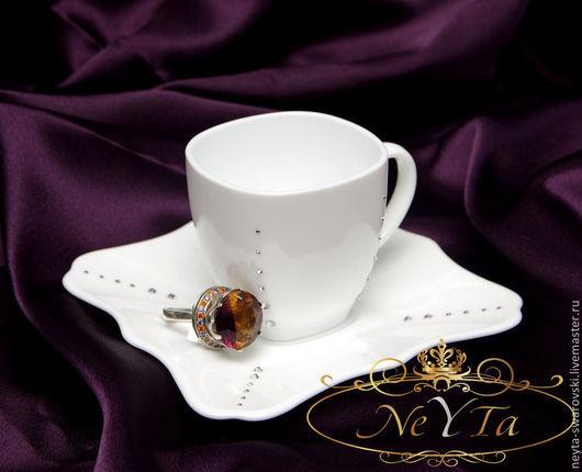 """Сервизы, чайные пары ручной работы. Ярмарка Мастеров - ручная работа. Купить Чайная пара с кристаллами """"Swarovski"""" """"День"""". Handmade."""