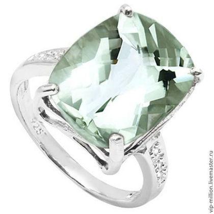 Кольца ручной работы. Ярмарка Мастеров - ручная работа Серебряное кольцо с крупным зеленым аметистом и 6 бриллиантами. Handmade.