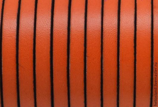 Для украшений ручной работы. Ярмарка Мастеров - ручная работа. Купить Кожаный шнур плоский 5 мм оранжевый. Handmade.