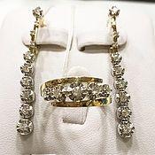 Украшения handmade. Livemaster - original item In Diamonds.  Earrings and ring with diamonds in 14k gold. Handmade.