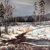 Картины и панно ручной работы. Ярмарка Мастеров - ручная работа Картина маслом Первый снег. Handmade.