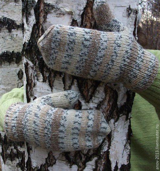 Варежки, митенки, перчатки ручной работы. Ярмарка Мастеров - ручная работа. Купить Варежки двойные. Связанные двойной резинкой.. Handmade.