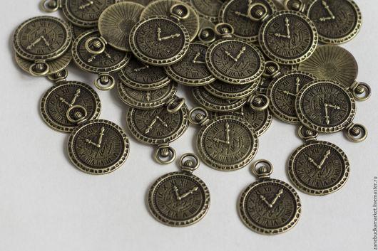 """Для украшений ручной работы. Ярмарка Мастеров - ручная работа. Купить Шармик (подвеска) """"Часы"""" - бронза. Handmade. Шармы, шармик"""