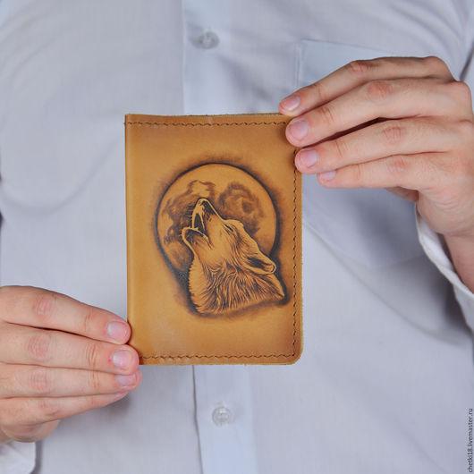 Обложки ручной работы. Ярмарка Мастеров - ручная работа. Купить Обложка на паспорт Волк. Handmade. Коричневый, обложка, обложка на паспорт