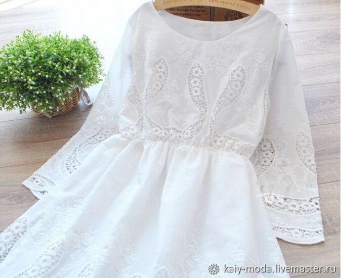 Белое Платье Хлопок С Кружевом Купить