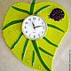 Часы для дома ручной работы. Часы настенные для кухни стеклянные фьюзинг Лист зеленый. Элеонора Саунина (Ella-handmade). Интернет-магазин Ярмарка Мастеров.
