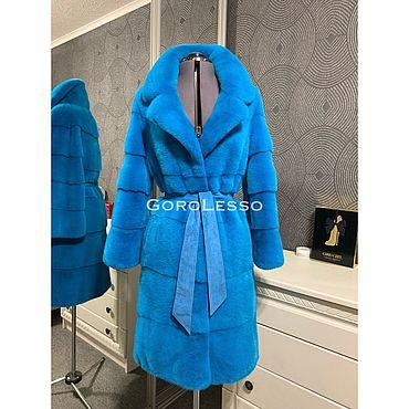 Одежда ручной работы. Ярмарка Мастеров - ручная работа Шуба норковая Nafa цвет Голубой яркий. Handmade.
