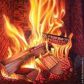 Картины и панно ручной работы. Ярмарка Мастеров - ручная работа Фотокартина - Тепло горящего камина. Handmade.