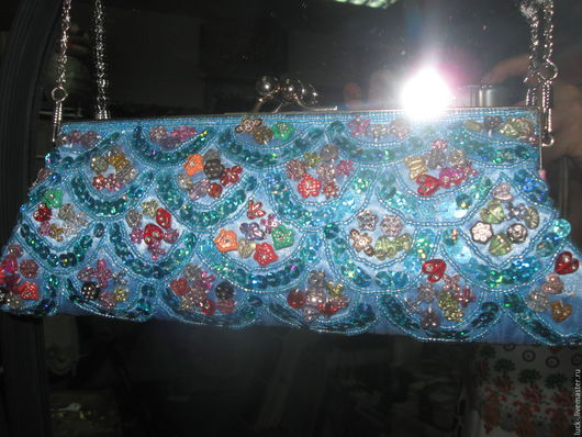 Женские сумки ручной работы. Ярмарка Мастеров - ручная работа. Купить Клатч из бисера. Handmade. Голубой, женский клатч