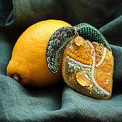 Украшения handmade. Livemaster - original item Lemon brooch yellow brooch with Swarovski crystals citrus. Handmade.