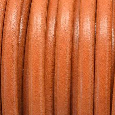 Материалы для творчества ручной работы. Ярмарка Мастеров - ручная работа Шнур кожаный , круглый,5 мм, орех, горчица. Handmade.