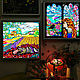 Painting with light/ stained glass painting /stained glass window with backlight Sleep. Pictures. House of Sun. Artist Irina Bast. Online shopping on My Livemaster.  Фото №2