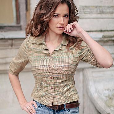 Одежда ручной работы. Ярмарка Мастеров - ручная работа Рубашка -жакет с накладными карманами. Handmade.