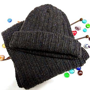 Аксессуары ручной работы. Ярмарка Мастеров - ручная работа Вязаный комплект шапка и шарф из твида унисекс. Handmade.