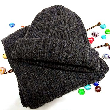 Accessories. Livemaster - original item Knitted unisex tweed hat and scarf set. Handmade.