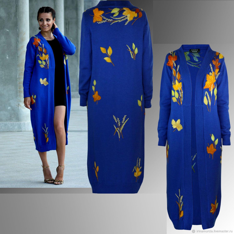 Синий вязаный шерстяной женский модный кардиган с вышивкой, Пальто, Мурсия,  Фото №1