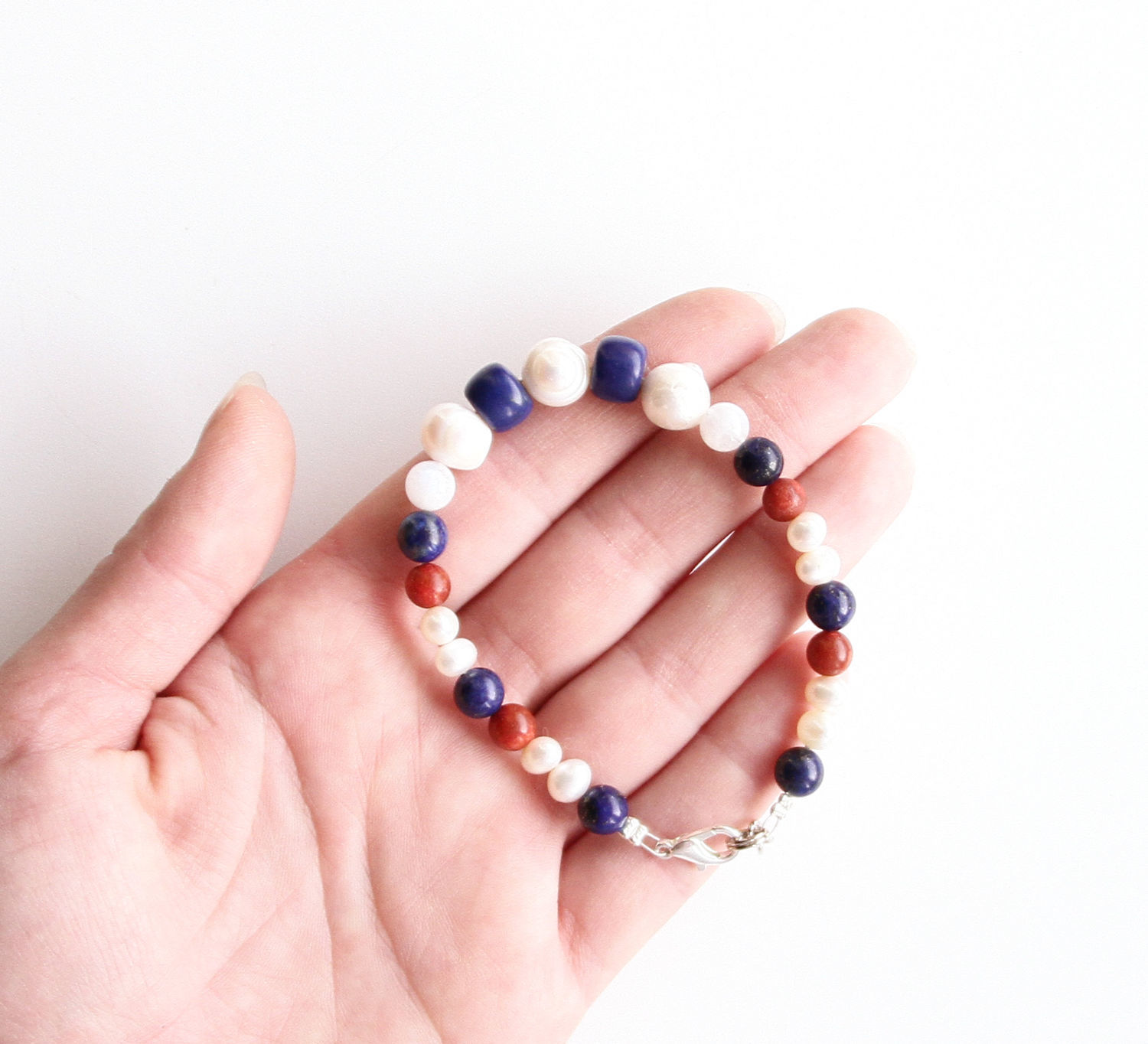 Bracelet with pearls, lapis lazuli, moonstone and coral, Bead bracelet, St. Petersburg,  Фото №1