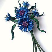 Украшения handmade. Livemaster - original item brooch made of leather corsage of cornflowers. Handmade.