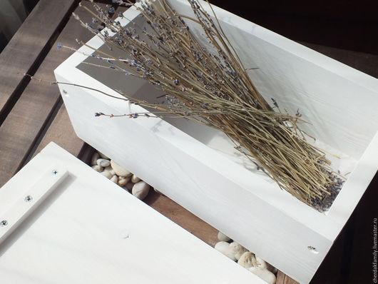 Корзины, коробы ручной работы. Ярмарка Мастеров - ручная работа. Купить Деревянный ящик Лаванда. Handmade. Белый, Деревянный ящик