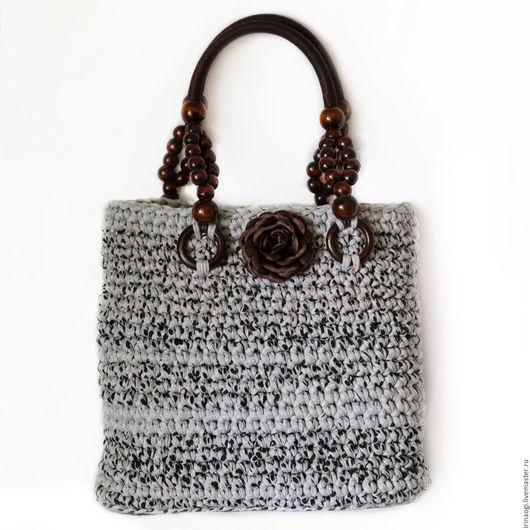 Женские сумки ручной работы. Ярмарка Мастеров - ручная работа. Купить сумка из текстильной пряжи. Handmade. Серый, сумки женские