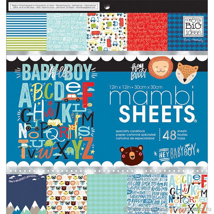 Открытки и скрапбукинг ручной работы. Ярмарка Мастеров - ручная работа. Купить 24 листа из набора Mambi Sheets Baby Boy от Me&My Big Ideas. Handmade.
