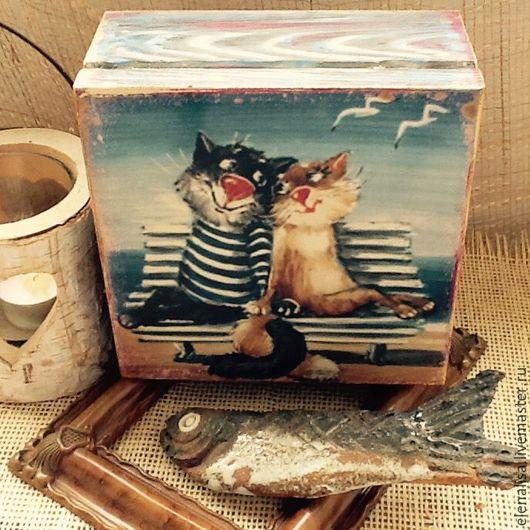 """Шкатулки ручной работы. Ярмарка Мастеров - ручная работа. Купить Шкатулка """" Кошачья любовь""""коробка. Handmade. Шкатулка для украшений, броширование"""
