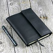 Канцелярские товары handmade. Livemaster - original item A copy of the product A5 Leather personal notebook with buttons with pockets. Handmade.