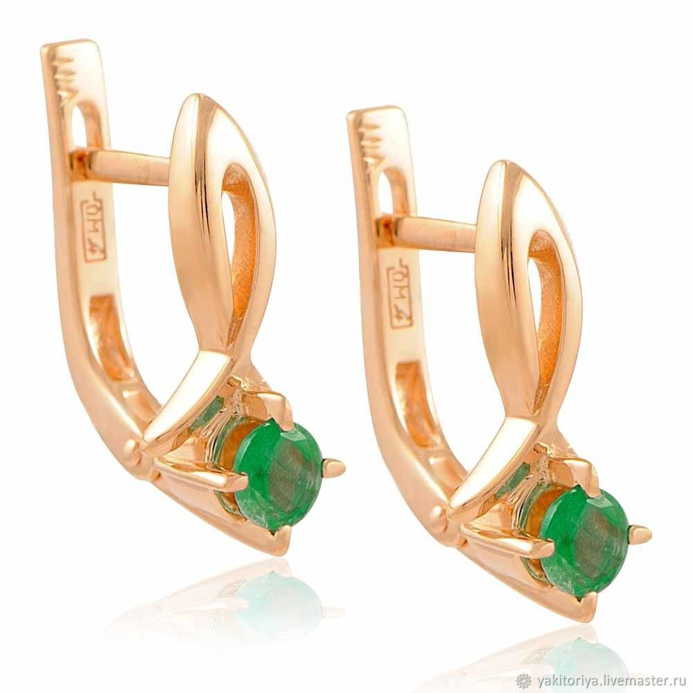 585 gold earrings with natural emeralds, Earrings, Moscow,  Фото №1