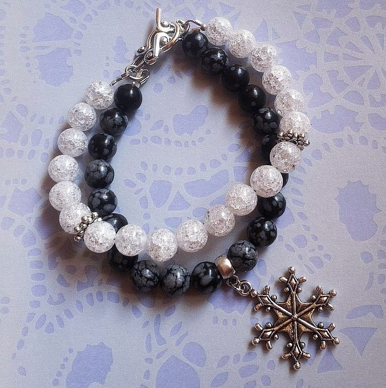 Снежный обсидиан браслеты