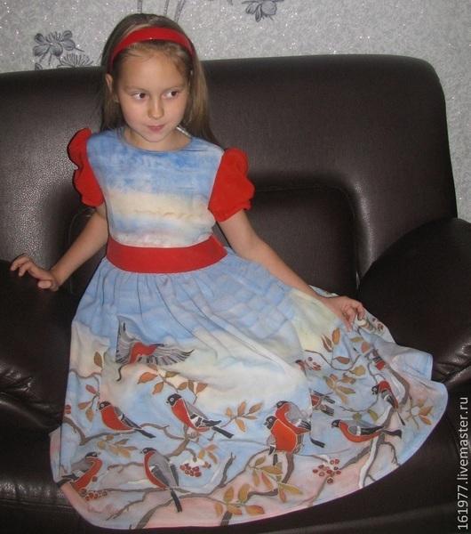"""Одежда для девочек, ручной работы. Ярмарка Мастеров - ручная работа. Купить Платье детское """"Снегири"""". Handmade. Рисунок, батик платье"""