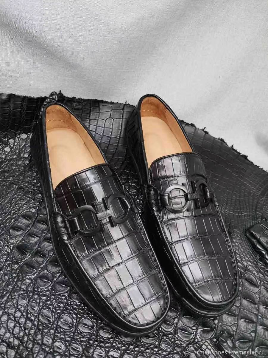 Moccasins men's crocodile leather, black color, Moccasins, Tosno,  Фото №1